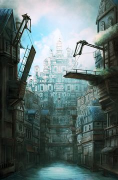 The fortification city floating on water by kumori1012.deviantart.com on @DeviantArt