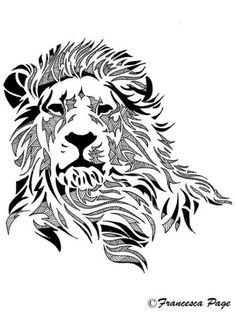 Looks like the lion was resting its head over its front paws before something made him lift up his head to attention. Doesn't look frightened, rather calm and collected, waiting to see what the subjects next move is By Francesca. Lion Tribal, Tribal Lion Tattoo, Animal Drawings, Art Drawings, Tattoo Drawings, Wood Burning Patterns, Lion Art, Cat Tattoo, Trendy Tattoos