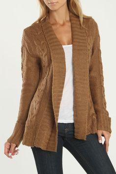 Long Sleeve Cardigan In Light Brown.