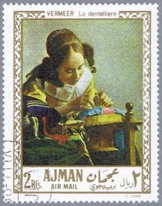 Picture of AJMAN - CIRCA A stamp printed in Ajman shows painting of Johan Vermeer - The Lacemaker, series, circa 1968 stock photo, images and stock photography. Abou Dabi, Louvre, Johannes Vermeer, Stamp Printing, Postage Stamps, Baseball Cards, Artist, Artwork, Prints
