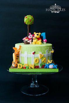 Winnie The Pooh 1st Birthday Cake - by Hazel @ CakesDecor.com - cake decorating website