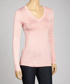 Take a look at this Dusty Pink V-Neck Top by Zenana on #zulily today!