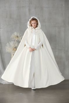We're all about comfort wear, the better way - for your body and the planet. Disney Wedding Dresses, Pakistani Wedding Dresses, White Wedding Dresses, Dress Wedding, White Cloak, White Dress, White Cape, Cashmere Fabric, Hooded Cloak
