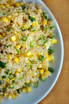 Quinoa with fresh corn and scallions in a lemon butter sauce.  Or   For the quinoa, we make two cups and add green onions, fresh garlic, caramelized red onions, tomatos, and fresh lemon and lime juice tossed in a bit of olive oil and melted butter - there