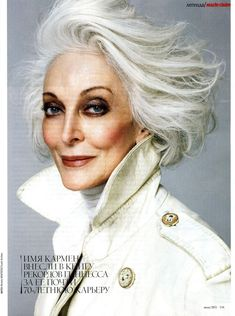 Going gray. Carmen the Model Carmen Dell'orefice, Yasmina Rossi, Older Models, Ageless Beauty, Going Gray, Raquel Welch, Aging Gracefully, Silver Hair, Rachel Weisz
