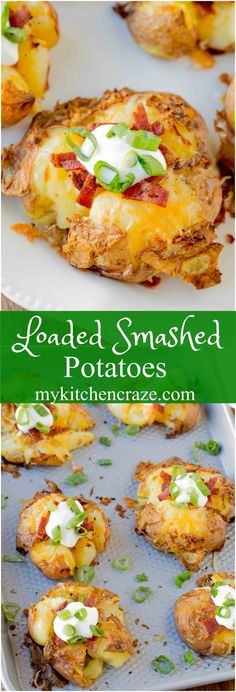 Loaded Smashed Potatoes are a no fuss and delicious side dish. Loaded with all t… Loaded Smashed Potatoes are a no fuss and delicious side dish. Loaded with all the yummy things you'd find in a loaded baked potato. Potato Sides, Potato Side Dishes, Vegetable Side Dishes, Diabetic Side Dishes, Side Dish Recipes, Veggie Recipes, Cooking Recipes, Potato Recipes, Skillet Recipes