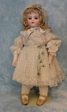"21"" Block Letter F G BEBE by Gaultier Blue PW's Circa 1882 French Bisque Doll 