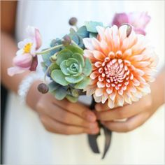 small succulent + dahlia bouquet