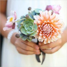 small succulent + dahlia bouquet