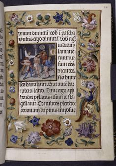 """Miniature of the flagellation of Christ, surrounded by a border of beautiful flowers, including pansies. And there's a butterfly too. Lovely, and yet quite incongruous alongside such a sad image."" Image source: New York Public Library MS 036."
