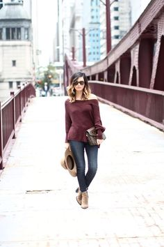 My Favorite Fall Sweater via For All Things Lovely | burgundy Free People sweater, FRAME Denim jeans, Vince Booties, Louis Vuitton handbag, Brixton hat, and Karen Walker sunnies for a chic, cozy look | Chicago, IL