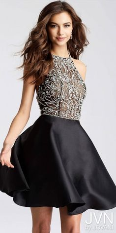 Homecoming fashion for women. I'm an affiliate marketer with links to shopstylecollective.com. When you click on a link or buy from the retailer, I earn a commission. JVN by Jovani Dazzling Beaded Halter Fit and Flare Homecoming Dress. http://shopstyle.it/l/hulp