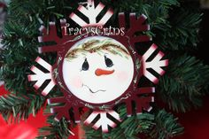 Hand Painted Snowflake Wood Holiday Ornament with by TracysCrtns