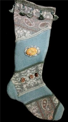 Victorian Teal Felted and Handmade Christmas Stocking with Antique Pin by NancysAccessories on Etsy
