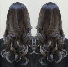 Black to Silver Gray #blackombre #silverombre