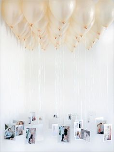 Previous pinner  - An easy, affordable way to show off your photos at your bridal shower /wedding / birthday / baby shower (could even turn into game with everyone submitting their baby photos before and adding numbers to the balloon). Balloon chandeliers are sweet, but would vary the length of string more so that you can see the photos....