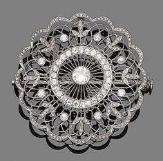 Бель эпок бриллиантовая брошь / подвеска, около 1910