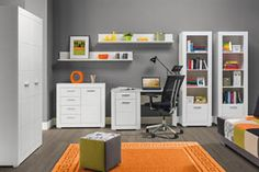 WHITE BOGFRAN Children's room furniture set. all cupboard and wardrobe space can accommodate a large amount of clothes. Polish Bogfran Modern Furniture Store in London, United Kingdom #furniture #polish #bogfran #kidsroom