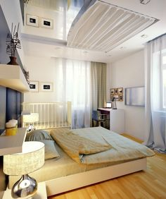 Gray white bedroom with mirror on the ceiling