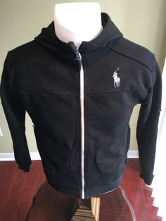 New to MajorDivision on Etsy: Vintage Medium Womens Black Polo by Ralph Lauren Zip Up Hoodie (30.00 CAD)