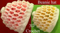 Gorro a Crochet 3D en punto panal o nido de abeja de dos colores reversi...