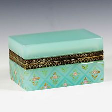 Vintage to Antique Italy Murano Ferro turquoise glass trinket jewelry hinged Box