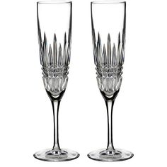 Waterford 'Lismore Diamond' Lead Crystal Flutes ($140) ❤ liked on Polyvore featuring home, kitchen & dining, drinkware, clear, modern champagne flutes, waterford champagne flutes, waterford flutes, waterford and lead crystal champagne flutes
