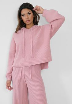 Premium Rose Co Ord Rib Knit Boyfriend Hoodie | Missguided Cs Up, Boyfriend Style, Co Ord, Discount Shopping, Loungewear, Missguided, Snug Fit, Rib Knit, Autumn Fashion