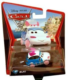 Disney / Pixar CARS 2 Movie 1:55 Die Cast Car Suki by Mattel. $9.94. All your favorite characters from the Disney Pixar film, CARS 2, in 1:55th scale. With authentic styling and details, these die cast characters are perfect for recreating all the great scenes from the movie. Collect them all!Star racecar Lightning McQueen and the incomparable tow truck Mater take their friendship to exciting new places in Disney Pixar Cars 2 when they head overseas to compete in the f...