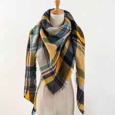 Za Winter Scarf Tartan Cashmere Scarf Women Plaid Blanket Scarf New Designer Acrylic Basic Shawls Women's Scarves and Wraps