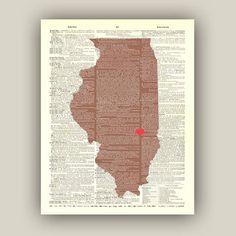 Illinois  Map  Illinois Art Print  customizable by PrintLand, $15.50