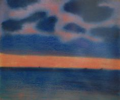 Léon Spilliaert,  Seascape in blue and red, 1906, Pastel and black chalk on Sienna paper, 31.8 x 36.8 cm