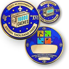 16000 Finds GeoAchievement set by GeoCachingOutlet on Etsy, $12.99