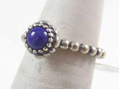 Vintage Pandora 925 Sterling Silver Solitaire Lapis Ring Sz 5 (3.5g) - 457685 #Pandora #Solitaire