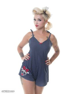 Vintage Rompers and Retro Playsuits Nauctical Playsuit Anchor Romper Suit Retro Pyjamas Polka Dot Playsuit Nautical Pyjamas Made To Order in Sizes XS - L  AT vintagedancer.com