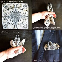 How to fold a pocket square? http://antagonisteclothing.wordpress.com/2012/06/08/how-to-fold-a-pocket-square/