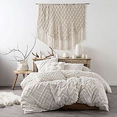 Chenille embroidery duvet cover set Linen House at Simons Maison. All-white sheets with delicate geometric chenille detailing, spun from invitingly soft cotton with a chic natural aesthetic and never-get-out-of-bed appeal. Home Bedroom, Bedroom Decor, Bedroom Ideas, Bedroom Designs, Master Bedrooms, Bedroom Inspiration, Master Suite, White Bedrooms, Boho Inspiration