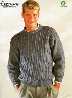 mens knitting pattern pdf mens dk sweater cable jumper crew neck vintage 60s ...