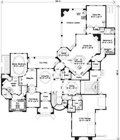 European Style House Plans - 6937 Square Foot Home , 2 Story, 5 Bedroom and 5 Bath, 3 Garage Stalls by Monster House Plans - Plan 28-146