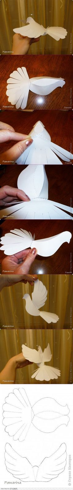Here is a tutorial for making your own DIY flying dove. You only need some paper and scissors. Templates of the bird parts are given above. Simply cut through the edges of the templates and attach … Origami Paper, Diy Paper, Paper Art, Paper Crafts, Diy And Crafts, Crafts For Kids, Arts And Crafts, Paper Birds, Paper Flowers
