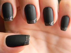 matte black with glitter french manicure