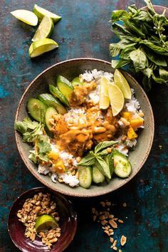 Weeknight Thai Peanut Chicken with Spicy Lime Mango. Instant Pot Thai Peanut Chicken with Spicy Lime Mango.quickly made in your, instant pot, slow cooker, or on the stove, using pantry staple ingredients. Asian Recipes, Healthy Recipes, Detox Recipes, Juicer Recipes, Thai Peanut Chicken, Coconut Chicken, Baked Chicken, Slow Cooker, Half Baked Harvest