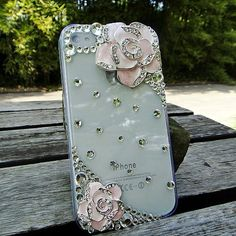 3D Camellia Design Diamond Hard Case Cover for iPhone 4/4s(Pink) - Cases & Skins - iPhone 4/4S - iPhone Accessories