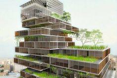 Edifício multiuso adota o conceito de telhado verde      Telhados verdes para combater o calor e o frio   (crédito: Divulgação)     O Merce...