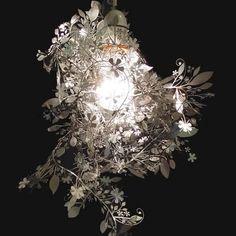 Tord Boontje's Garland light shade by Habitat flower lamp pendant chandelier Silver Garland, Light Garland, Floral Garland, Pendant Chandelier, Pendant Light Fixtures, Pendant Lighting, Light Pendant, Unique Lighting, Tord Boontje