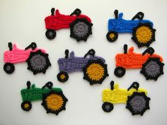 1pc Large Crochet TRACTOR Applique. Colors: black details - TIRES: black (with gray or mustard yellow center) - TRACTOR Body: orange, blue, purple, red, pink, green, bright yellow  Size: 4 x 5.5  Made with thick (worsted) yarn.