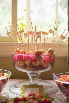 Donut kabobs!! Sew Krafty Mama: First Birthday Festivities...Pinterest Style! First Birthday Brunch, Donut Birthday Parties, Baby Girl First Birthday, Donut Party, Birthday Fun, Birthday Ideas, Birthday Cakes, Beignets, 1st Birthdays