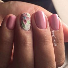 Accurate nails, Festive nails, flower nail art, Gentle nails with flowers, Ideas of gentle nails, Pale pink nails, Pink nails with flowers, Plain nails