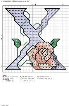Alfabeto celeste con le rose: X
