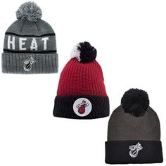 63e8a750c2f  11.32 AUD - Mitchell   Ness Miami Heat Mens Adults Beanie Bobble Hats Uw   ebay  Fashion